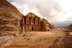 Monastero a PETRA nel Giordano Fotografia Stock