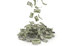 Money falling on pile Royalty Free Stock Photography