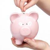 Money in piggy bank Stock Photos