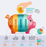Money Saving Monthly Report Infographics Template. Stock Image