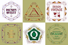 Monograma loga szablon z zawijasa ornamentu kaligraficznymi eleganckimi elementami Obraz Royalty Free