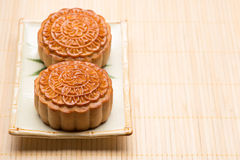 Moon cake traditional cake of Vietnamese - Chinese mid autumn festival food Royalty Free Stock Photo