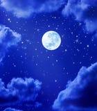 Moon Stars Night Sky Stock Photos