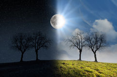 Moonlight and sunlight Royalty Free Stock Photos