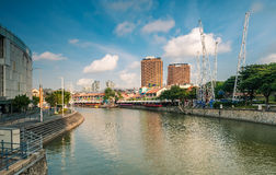 Morning view of Clarke Quay, a historical riverside quay in Singapore. Royalty Free Stock Images
