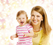 Mother and Baby Girl Family Portrait, Parent with Daughter Kid Stock Images
