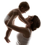 Mother baby, hapy family raising up child Stock Images