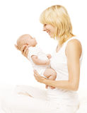 Mother and Baby Newborn Family Portrait, Parent New Born Kid Royalty Free Stock Images