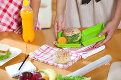 Mother preparing healthy lunch box for child Royalty Free Stock Photography