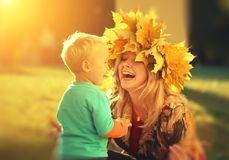 Mother son autumn happy Royalty Free Stock Photo