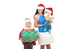 Mother with their sons at Christmas Stock Images