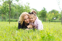 Mother and young daughter in countryside Stock Images