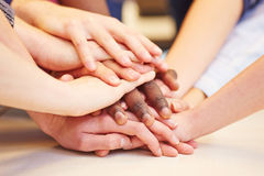 Motivation and teamwork with hands stacked Royalty Free Stock Photos