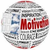 Motivation Word Globe Open Door Opportunity Achieve Inspiration Stock Image