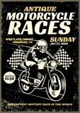 Motorcycle race poster in grunge textured style Stock Photography