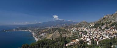 Mount Etna & Taormina Stock Photo