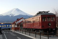 Mount Fuji and train Stock Images