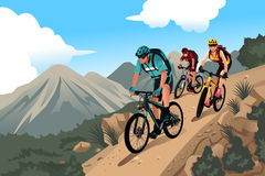Mountain bikers in the mountain Royalty Free Stock Photo