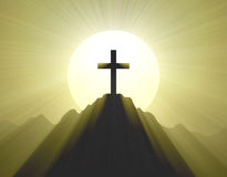 Mountain top cross holy light halo Royalty Free Stock Photo