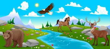 Mountain landscape with river and animals Royalty Free Stock Photos