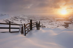 Mountain sunrise in snow Royalty Free Stock Photos