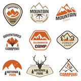 Mountain and travel retro emblems and labels set Stock Image