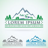 Mountains vintage vector logo design template, green tourism icon Stock Images