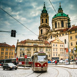 Movement of tram on the street Malostranske Royalty Free Stock Photo