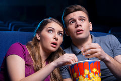 This movie is so scary! Royalty Free Stock Image