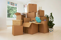 Moving Boxes In New House Stock Photography