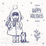 Muchacha con una tarjeta del perro Fotos de archivo