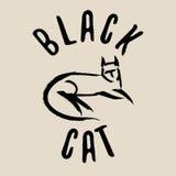 Muestra del gato negro Insignia del gato negro Imagenes de archivo