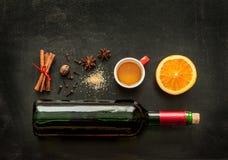Mulled wine recipe ingredients on chalkboard - winter warming drink Royalty Free Stock Photo