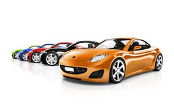Multi Coloured Three Dimensional Modern Cars Royalty Free Stock Images