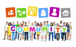 Multi-Ethnic Group Of People Holding Community Placards Royalty Free Stock Images