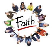 Multi-Ethnic Group of People Holding Hands and Faith Concept Royalty Free Stock Image