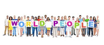 Multi-Ethnic Group Of People Holding 12 Letters And 12 Placards Royalty Free Stock Photo