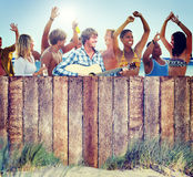 Multi-Ethnic Group of People Partying Outdoors Royalty Free Stock Photos