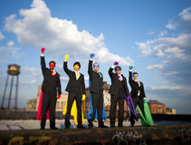 Multi-Ethnic Group of Superhero Businessmen Royalty Free Stock Images