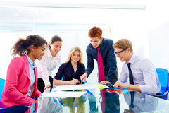 Multi ethnic teamwork of young business people Stock Photography