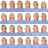 Multi facial expressions Stock Photo