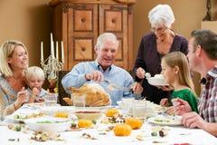 Multi famiglia della generazione che celebra ringraziamento Immagini Stock