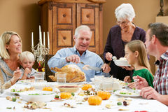 Multi Generation Family Celebrating Thanksgiving Stock Images