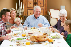 Multi Generation Family Celebrating Thanksgiving Royalty Free Stock Photography