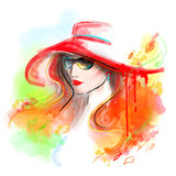 Multicolored autumn. Fashion beautiful woman . autumn abstract. Illustration water color Stock Images