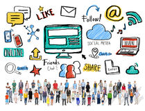 Multiethnic Crowd People Global Communications Social Media Stock Images