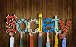 Multiethnic Group of Hands Holding Word Society Royalty Free Stock Photo