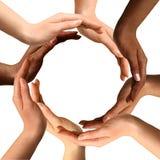 Multiracial Hands Making a Circle Stock Image