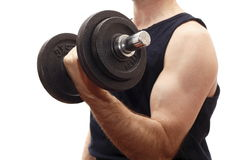 Muscle training with weight Royalty Free Stock Photography