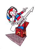 Music clown in the box Royalty Free Stock Photo